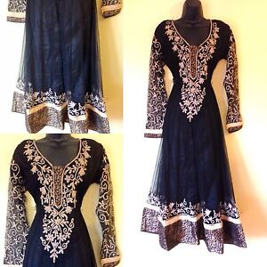 Indian-Pakistani-Black-Anarkali-Salwar-Kameez-Ladies-Long-Women-Party-S-XXXL