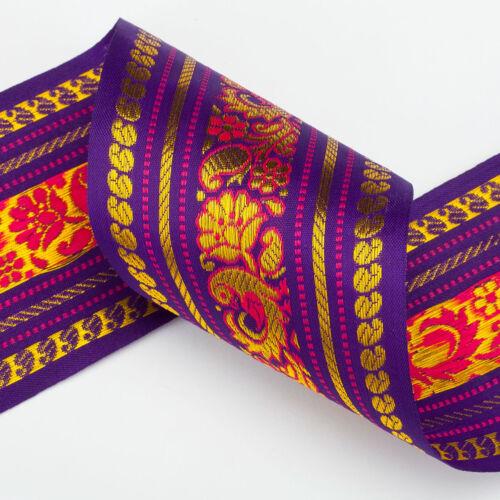 Neotrims Wide India Paisley Peacock Sari Salwar Kameez Craft Ribbon Material 9cm