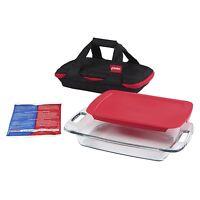 Pyrex Portable 4-Piece Set w 3-quart Oblong and Carrier 1102266 Kitchen