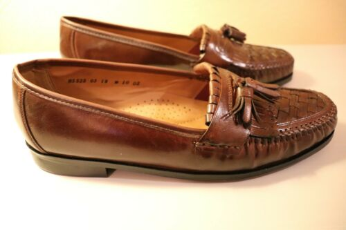 NEW Nun Bush Daley Cognac Brown Leather Weaved Tassel Loafers Shoes Size 12 W