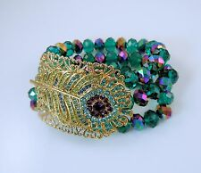 Kirks Folly Josephine Wall Peacock Feather Stretch Bracelet  gold finish