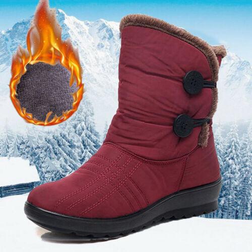 Women Winter Slip On Snow Boots Waterproof Slip On Warm Fur Lined Ankle Shoes US