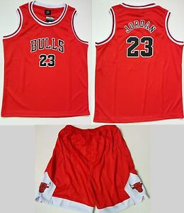 new concept e47a1 ba3eb Details about Kid Basketball Jersey Short Set - Red #23 Michael Jordan  Chicago Bulls