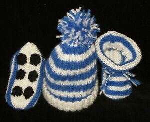 15ee5b2f2dd Image is loading HAND-KNITTED-NORTH-MELBOURNE-KANGAROOS-FOOTY-BABY-BEANIE-