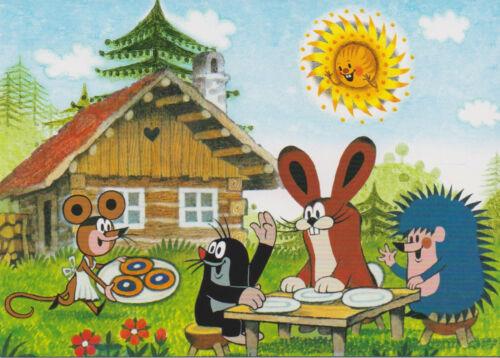 Hase und Igel sind zu Besuch bei der Maus Ansichtskarte Der kleine Maulwurf