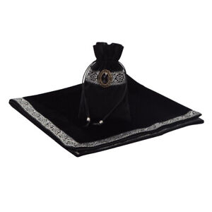 Retro Altar Tarot Card Tablecloth Divination Soft Wicca Velvet Pouch Black