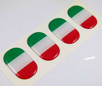 "Italy midi Italia domed decals flag 4 emblems 1.5""x1"" Car bike laptop stickers"