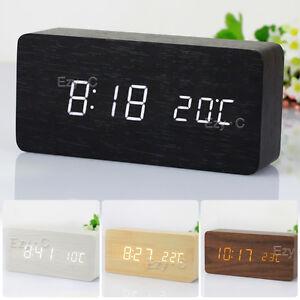 Wooden-Digital-LED-Display-Desk-Table-Clock-Temperature-Alarm-Modern-Home-Decor