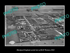 OLD-LARGE-HISTORIC-PHOTO-BLACKPOOL-ENGLAND-AERIAL-VIEW-OF-RAF-WEETON-c1945