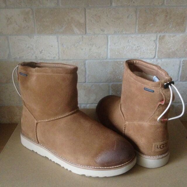 UGG Classic Toggle Waterproof Chestnut Suede Sheepskin Ankle Boots Size 11 Mens