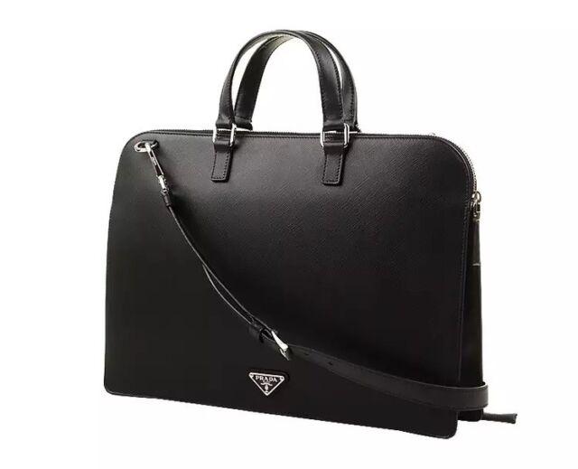 3f4df2fa38aea5 Frequently bought together. Prada Men's Black Saffiano Leather Attache Briefcase  Bag