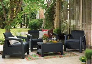 4 PEZZI Keter Rattan Mobili da Giardino Set Sedie Divano Tavolo da giardino veranda