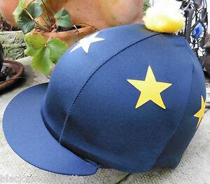 HY Bleu Marine//Rose Pom Pom Chapeau d/'équitation Couverture en soie pour Jockey caps taille unique