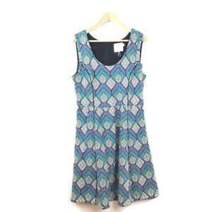 Anthropologie-HD-In-Paris-Dress-L-Blue-Printed-A-Line-Sleeveless-Women-s-Frayed