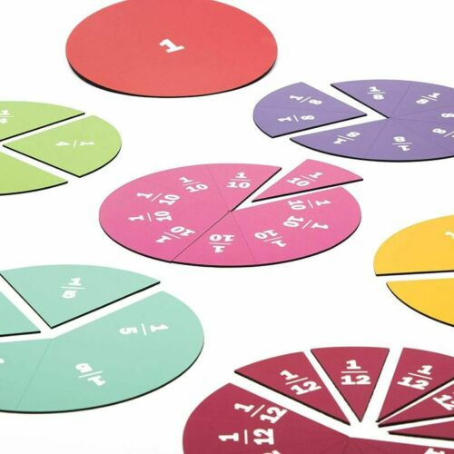 21 Pack Magnetic Rainbow Fraction Tiles and Circles Math Education Kit for Kids