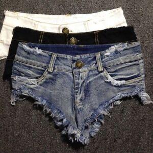Donna Jeans Mini pantaloncini hot sexy shorts vita bassa jeans strappato