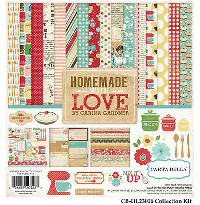 "CARTA BELLA ""HOMEMADE WITH LOVE"" 12X12 PAPER COOKING BAKING  SCRAPJACK'S PLACE"