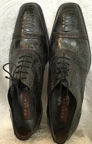 Melzan Shoe Dark Gray Ostrich Lace Up Dress Shoe S