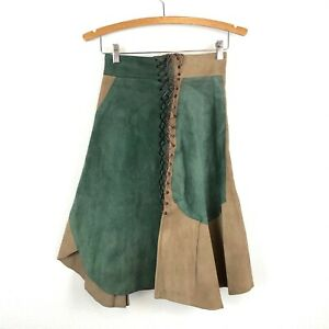 Unbranded-Womens-Small-Suede-Patchwork-Fairy-LARP-Medieval-Cosplay-Skirt