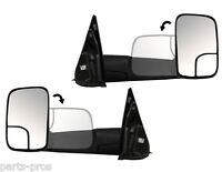 Black Manual Flip-up Towing Mirrors / For 1994-2002 Dodge Ram Truck Pickup