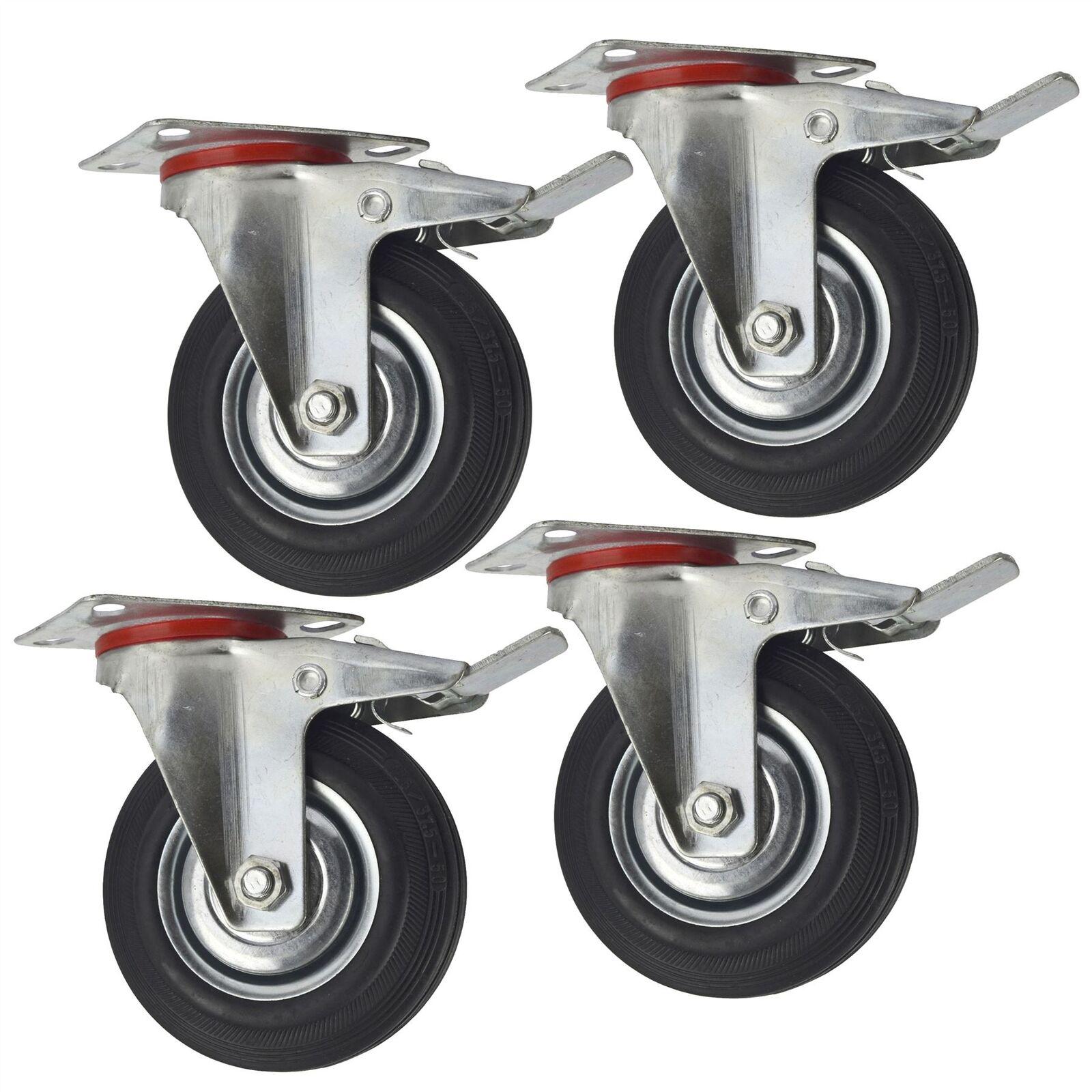5  (125mm) le caoutchouc pivotante avec frein roues pivotantes Roulettes Trolle