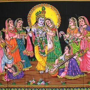 Wall-Hanging-Fabric-Image-100-x-75-cm-Radha-Krishna-Gopi-India-Thangka-Picture