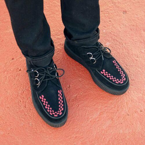 T.U.K Chaussures En Daim Noir /& Rouge entrelacement Haute Semelle Creeper