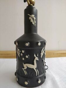 Mid-Century-Vintage-pottery-lamp-with-stylized-deer-and-foliage