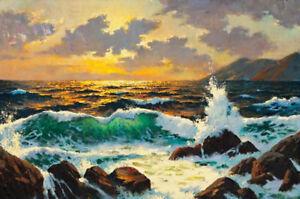 ZOPT589-100-hand-painted-landscape-seascape-wave-oil-painting-home-art-canvas