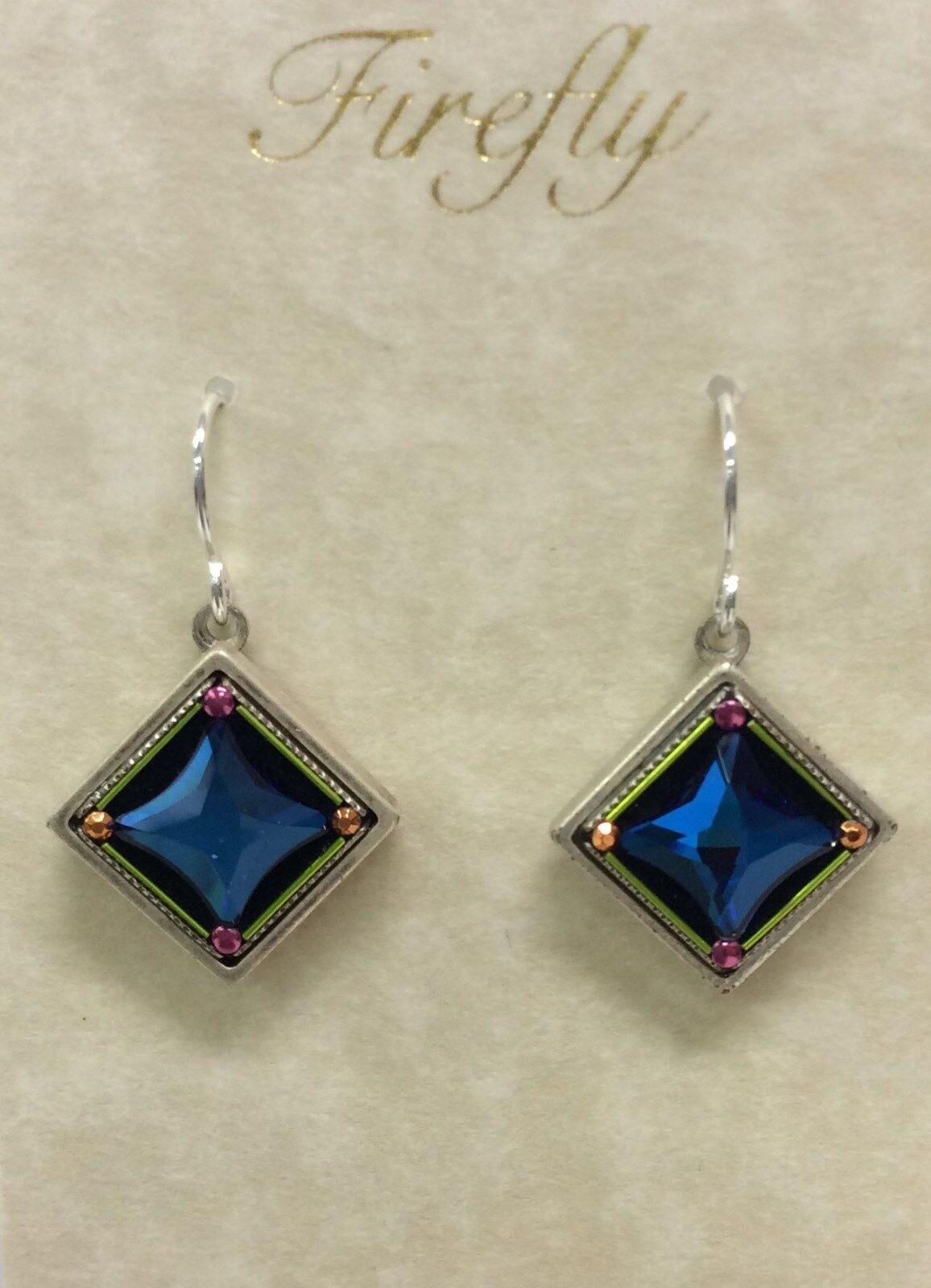 Firefly Fair Trade Jewelry bluee Crystal Geometric Diamond Earrings 7472-MC