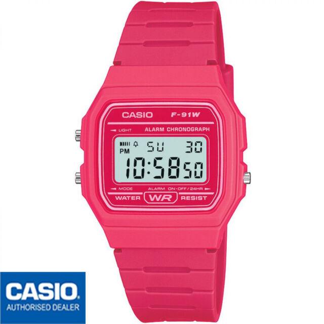 Casio 37mm Caja de Resina Rosa, Correa de Goma Rosa, Reloj para Mujer (F 91WC 4AEF)