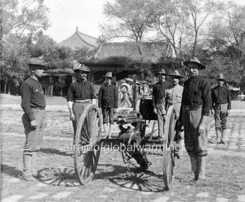 Photo 1899 US Soldiers Gatling Gun Detachment China