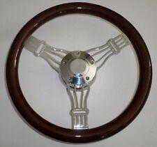 """14"""" Dark Mahogany & Billet Aluminum Banjo Steering Wheel, Horn & Hub Adapter"""