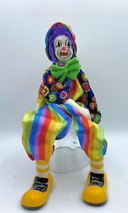 "GANZ Vintage Porcelain Ceramic Freestanding Poseable Circus Clown Doll 12"" Tall"