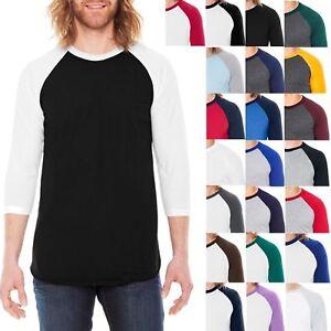 American-Apparel-Mens-T-Shirt-3-4-Sleeve-Raglan-Baseball-Tee-XS-S-M-L-XL-NEW