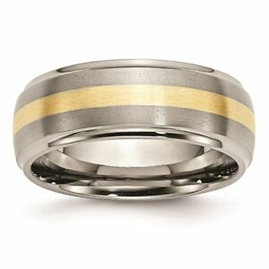 Engagement & Wedding 2019 New Style Titanium Ridged Edge 14k Yellow Inlay 8 Mm Brushed Polished Wedding Band