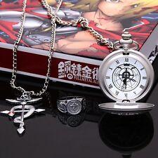 FullMetal Alchemist Anime Metall Taschenuhr Uhr mit Kette Ring Anhänger 3er Set