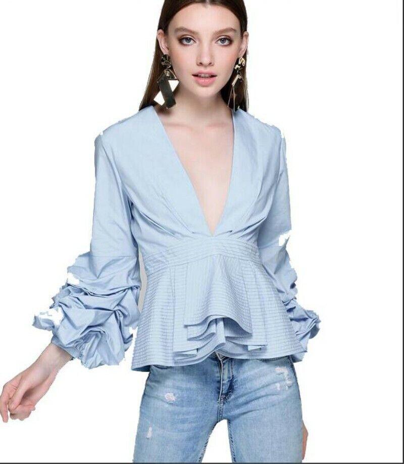 Sexy Damas Falbala Tops V Cuello Elegante Elegante Elegante Camisa azulsa suelta prenda girst Dulce Nuevo 091cc0