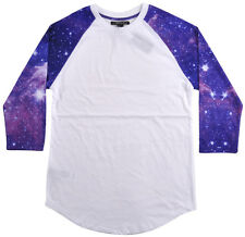 21 Men Forever 21 Raglan Baseball T-Shirt White Purple Galaxy Stars XS-L NEW