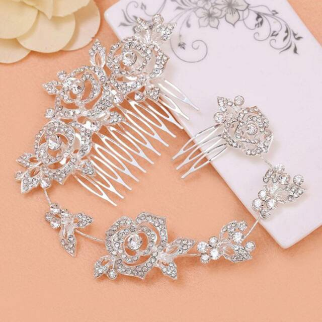 Rhinestone Wedding Crystal Flower Bridal Handmade Hair Comb Accessory Jewelry f