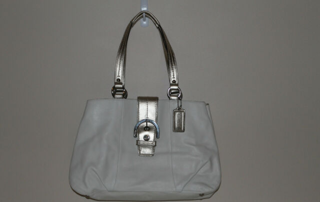 b49b963e13 New w Tags Coach Soho Leather Tote White F18751 50% BELOW  378 Retail RARE