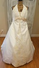 davids bridal wedding gown ivory size 16w corset train beads
