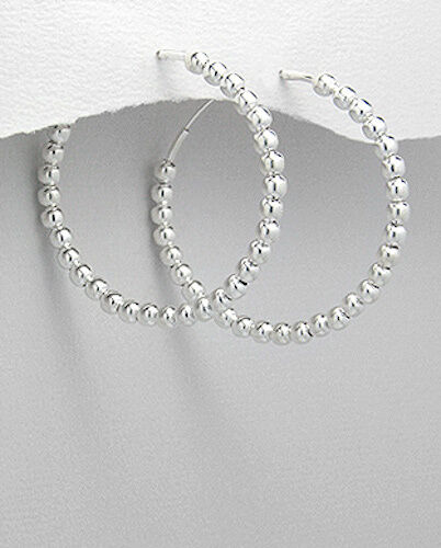 """COUTURE 1.5/"""" Sterling Silver Ball Beads Endless Hoop Earrings 8.65g 38mmx4mm"""