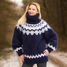 Blue hand knitted mohair sweater Icelandic fuzzy handmade pullover SUPERTANYA