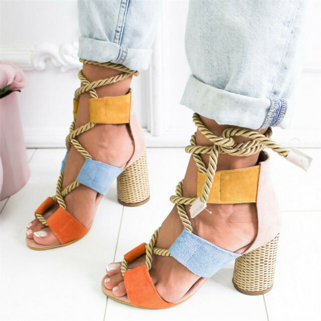 ILJ:Woman High Heels Sandals Ankle Strap Cross-Strap Women Sandals Bandage Shoes