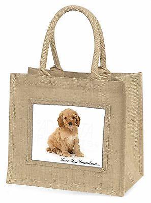 Cockerpoodle Hund 'Liebe dich Oma' groß Natürliche Jute Einkauf Tasche,