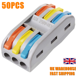 50pcs 3 Conductor Compact Splicing Wire Connectors With Colored Levers Ebay