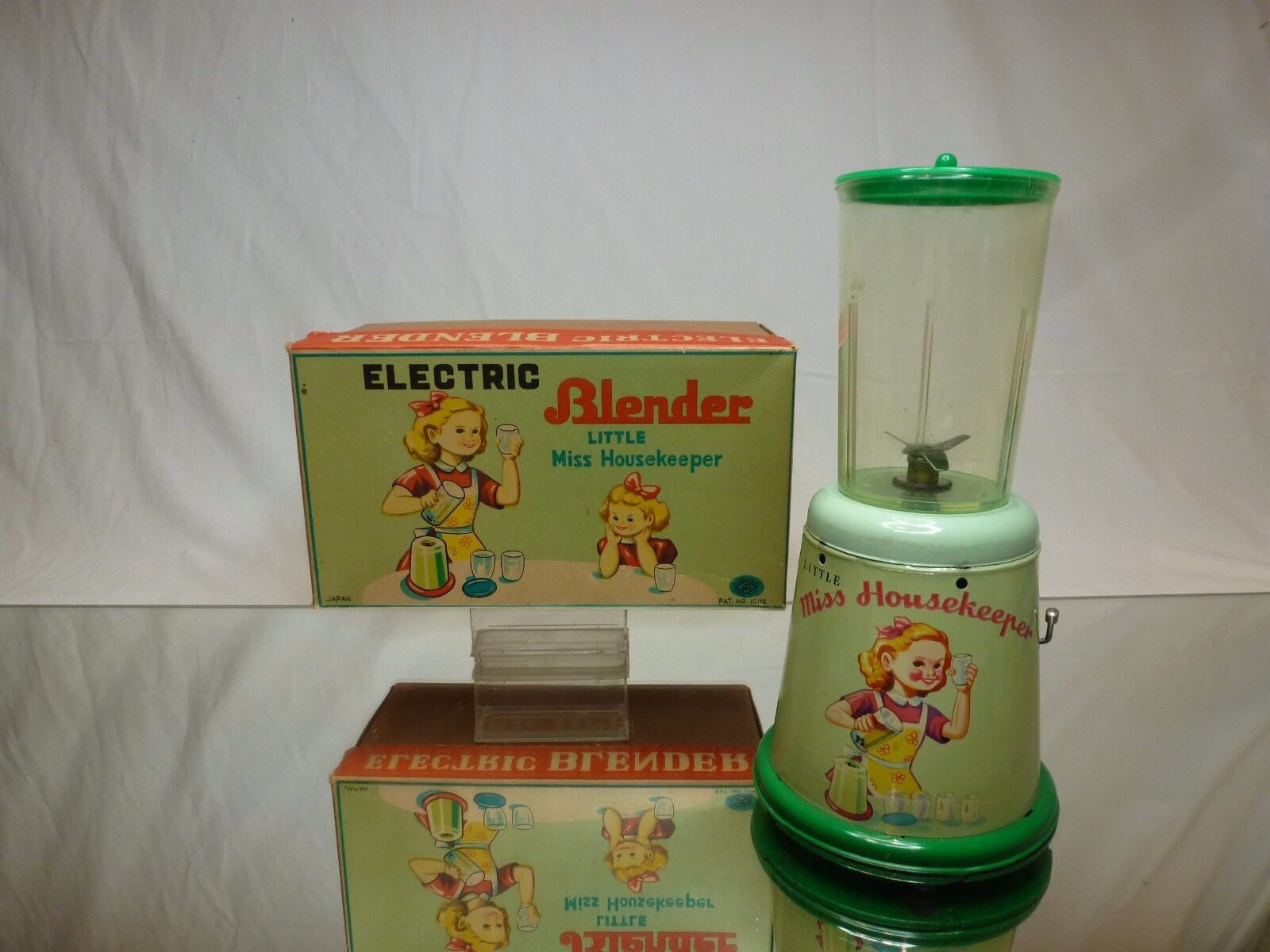 TM TIN TOY ELECTRIC BLENDER - LITTLE MISS HOUSEKEEPER - Verde RARE - GOOD IN BOX