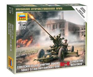 Zvezda-DE-RUSIA-37-mm-AA-Gun-amp-Crew-Maqueta-plastico-en-Kit-1-72-Escala-6115
