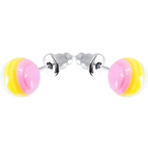 Ohr Stecker Paar Kugel pink//gelb//weiß Ø 8mm Ring Ringe Mode Schmuck NEU